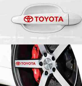 Toyota Decals Stickers For Door Handles And Wheels Rims 8pcs Vinyl Red White