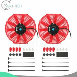 Red Universal 2pcs 12 Inch Engine Radiator Cooling Fan Assembly Electric