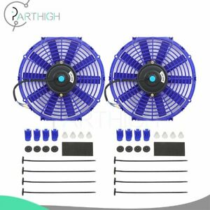 Blue Universal 2pcs 12 Inch Engine Radiator Cooling Fan Assembly Electric