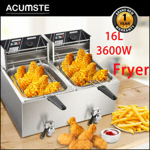 16l Electric Deep Fryer Dual Tank Commercial Fry Basket Restaurant Stainless Us