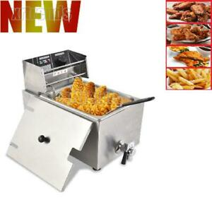 8l Commercial Electric Countertop Deep Fryer Basket Restaurant With Valve Us