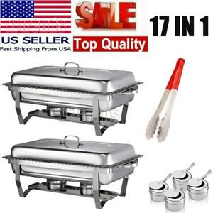2 Pack 17in1 Full Size Chafing Dish Stainless Steel Rectangular Chafer Buffet