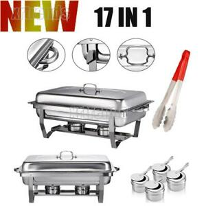2 Pack Full Size Chafing Dish Stainless Steel Rectangular Chafer 17in1 Buffet