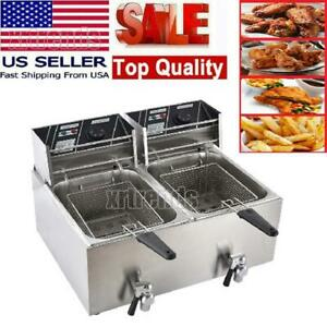 16l Stainsteel Electric Deep Fryer Dual Tank Double Cylinder Restaurant Cook