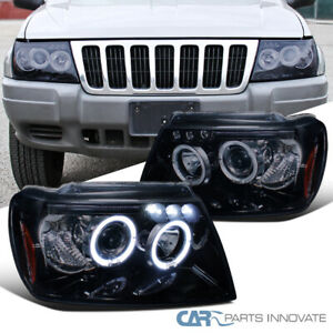Glossy Black Fit Jeep 99 04 Grand Cherokee Halo Projector Headlights Left right