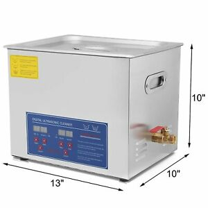 10l Ultrasonic Cleaner Cleaning Equipment Liter Heated W Timer Heater