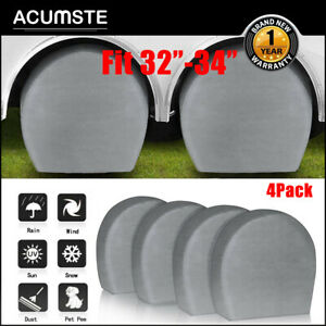 Set Of 4 Wheel Tire Covers For 32 To 34 Diameter Rv Trailer Truck Car Camper