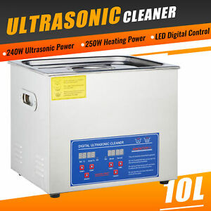 10l Commercial Ultrasonic Cleaner Electric Ultrasound Clean Machine Timer Heater