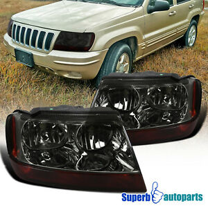 For 1999 2004 Jeep 99 04 Grand Cherokee Headlights Smoke Turn Signal Lamps Pair
