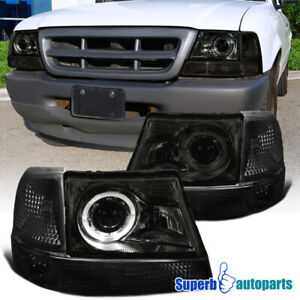 For 1998 2000 Ford Ranger Halo Projector Headlights Smoke corner Signal Lights