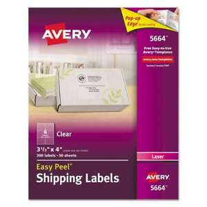Avery Clear Easy Peel Shipping Labels Laser 3 1 3 X 4 300 box 072782056643