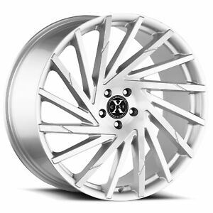 4 Xcess X02 22x9 5x115 15mm Silver Brushed Wheels Rims 22 Inch