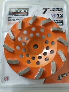 Ridgid 7 Orange 12 segment Diamond Cup Grinding Wheel model Taw7012l1