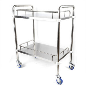 2 Tiers Stainless Steel Cart Medical Lab Trolley Mobile Rolling Serving Trolley