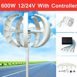 600w Dc 12 24v 5 Blades Lantern Wind Turbine Generator Vertical Axis Home Power