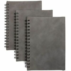 3x Spiral Bound Sketch Book Unruled Travel Notebooks Grey Pu Leather 6 X 8 5