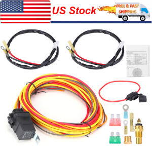 165 To 185 Thermostat 40 Amp Dual Electric Cooling Fan Wiring Relay Sensor Kit