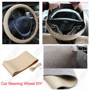 Genuine Leather Auto Car Steering Wheel Cover With Needles And Thread Beige