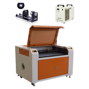 Us Stock 100w Co2 Laser Engraving Machine Laser Cutter Rotary Axis Cw5000
