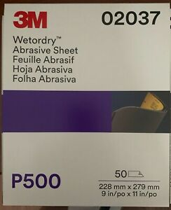 3m 02037 Wet Or Dry 9x11 500 Grit Sheets Sand Paper 50 Sleeve Free Shipping