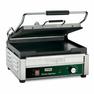 Waring Wdg250 Double Commercial Panini Press W cast Iron Grooved Smooth Plates