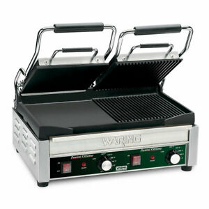 Waring Wdg300 Double Commercial Panini Press W Cast Iron Grooved Smooth Plate