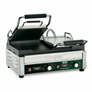 Waring Wfg300t Double Commercial Panini Press W Cast Iron Smooth Plates 240v 1