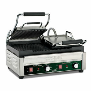 Waring Wpg300 Double Commercial Panini Press W Cast Iron Grooved Plates