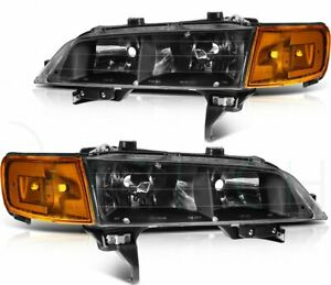 Black Headlights For 1994 1997 Honda Accord Leadlamps Assembly Front Left right