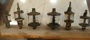 Collection 6 Antique Brass Hit Miss Engine Oilers American Gast Lonergan Mich