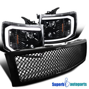 For 2007 2013 Silverado Led Drl Projector Headlights honeycomb Grille