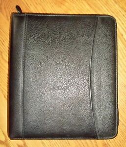 Franklin Planner Classic Zip Binder Organizer Genuine Leather 7 ring Black