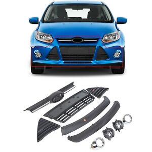 Complete Front Bumper Grill Cover Assembly For 2012 2014 Ford Focus 2013