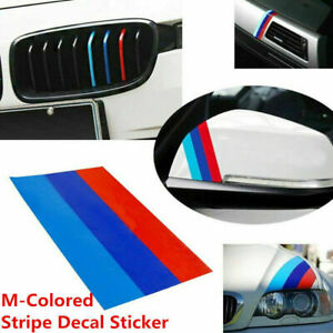 1x For Bmw M colored Power Flag Stripe Sticker Decal Auto Car Hood Roof 10in