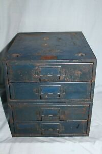 2 Vintage Union Utility 2 Drawer Stackable Parts Storage Bin Cabinets Style 210