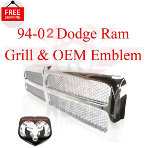 For 94 02 Dodge Ram Chrome Grill And Oem Emblem 1500 2500 3500 95 96 97 98 99 00