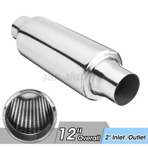 2 Inlet Outlet Stainless Steel Welded Muffler Exhaust Resonator Straight Through