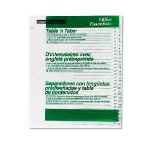 Office Essentials Table n Tabs Dividers 31 tab Letter 072782116804