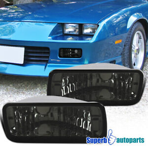For 1985 1992 Camaro Smoke Front Bumper Lights Turn Signal Lamps Left right