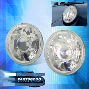Universal Clear 7 H6024 Round Projector Headlights Head Lamps With Bulbs Pair
