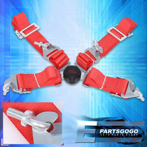 4pt 2 Inch Cam Lock Quick Release Racing Seat Belt Harness Nylon Red For Nissan