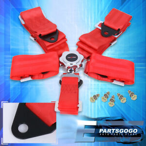 5 Point Camlock Fast Release Racing Seat Belt Harness Red Mustang Neon Srt 4