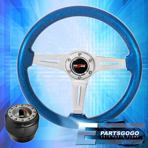 Metallic Blue Chrome Center Deep Dish Steering Wheel Adapter For 92 95 Civic