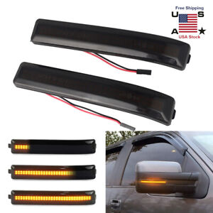 For 01 14 Ford F150 Smoked Sequential Led Dynamic Side Mirror Turn Signal Lights