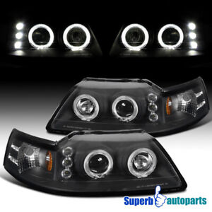 For 1999 2004 Ford Mustang Dual Halo Projector Headlights Black Lamps Pair