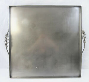 Large Commercial Handled Flat Steel Stove top Griddle Plate 22 1 2 Square vgc