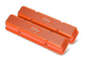 Holley Finned Valve Covers Non Emissions Orange For Small Block Chevy Engines