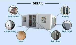 Expendable Prefab Container House 398sf Storage Shed Kitchen Bathroom Insulated