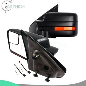 Black For 2004 14 Ford F 150 Power Heated Puddle Signal Tow Mirrors Pair