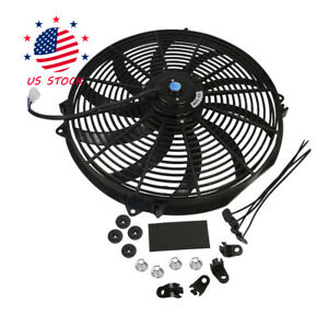 Universal 16 Inch 12v Slim Fan Push Pull Electric Radiator Cooling W Mount Kit
